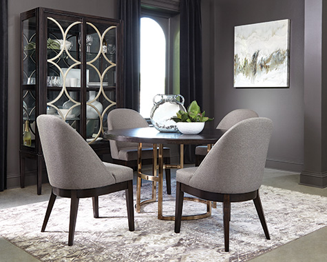 Benton Round Dining Table Dark Brown and Rose Brass - Hover