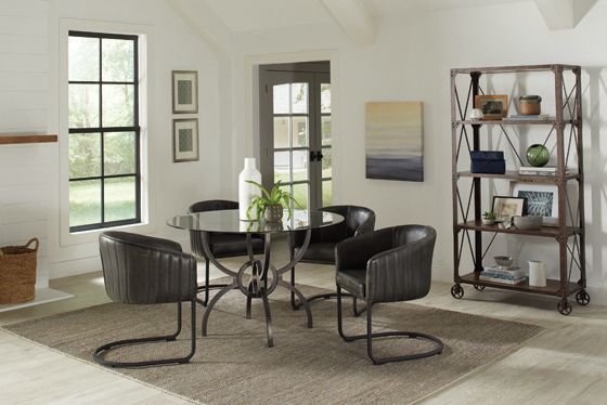 Aviano Upholstered Dining Chair Anthracite and Matte Black - Hover