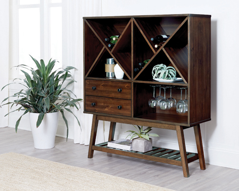 2-drawer Wine Cabinet Desert Teak - Hover