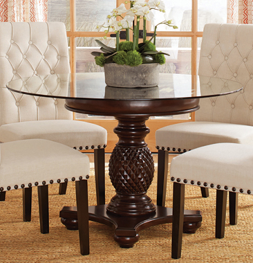 Anniston Pedestal Dining Table Base Espresso - Hover