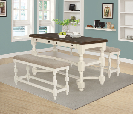 Clanton Upholstered Counter Height Benches Tan and Antique Cream (Set of 2) - Hover
