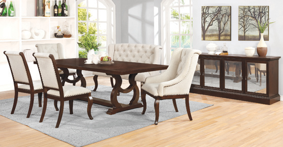 Brockway Cove Tufted Arm Chairs Cream and Antique Java (Set of 2) - Hover