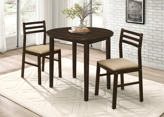 3-piece Dining Set with Drop Leaf Cappuccino and Tan - Hover