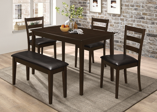 5-piece Dining Set with Bench Cappuccino and Dark Brown - Hover