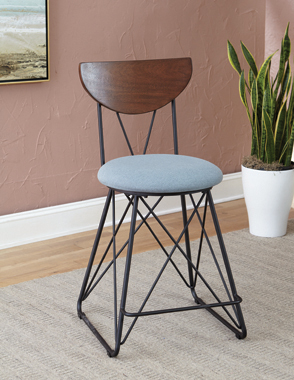 Semicircle Back Counter Height Stools Black and Blue (Set of 2) - Hover