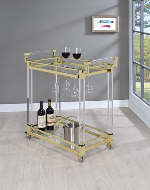 Chanel 2-tier Serving Cart Brass and Clear - Hover