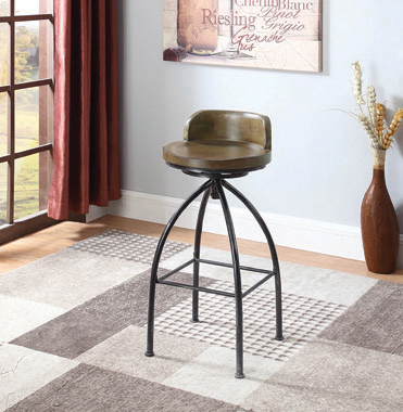Swivel Bar Stool Cognac and Antique Black - Hover
