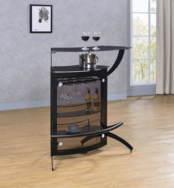 3-Bottle Wine Rack Bar Unit Smoked and Black - Hover