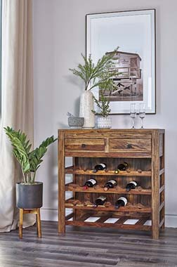 2-drawer Wine Cabinet Natural Sheesham - Hover