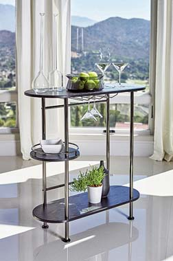 3-tier Bar Unit Black Nickel and Black Oak - Hover