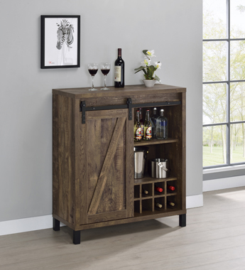 Bar Cabinet with Sliding Door Rustic Oak - Hover