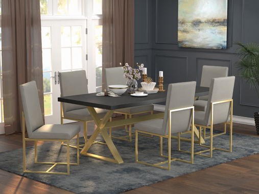 Conway X-Trestle Base Dining Table Dark Walnut and Aged Gold - Hover