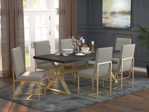 Conway Upholstered Dining Chairs Grey and Aged Gold (Set of 2) - Hover