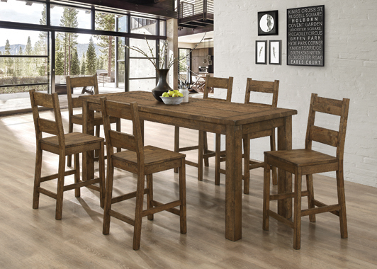 Coleman 5-piece Counter Height Dining Set Rustic Golden Brown - Hover