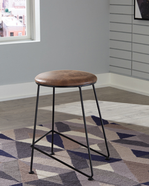 Counter Height Stool Saddle and Dark Gunmetal - Hover