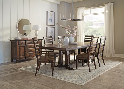 Delphine Rectangle Dining Table with Extension Leaf Vintage Dark Pine