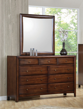 Hillary Rectangular Dresser Mirror Warm Brown - Hover