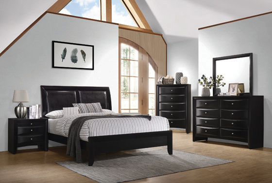 Briana Eastern King Upholstered Panel Bed Black - Hover