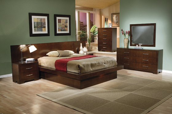 Jessica Queen Platform Bed with Rail Seating Cappuccino - Hover