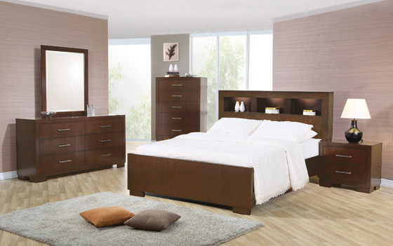 Jessica Eastern King Bed with Storage Headboard Cappuccino - Hover