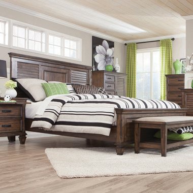 Franco Eastern King Panel Bed Burnished Oak