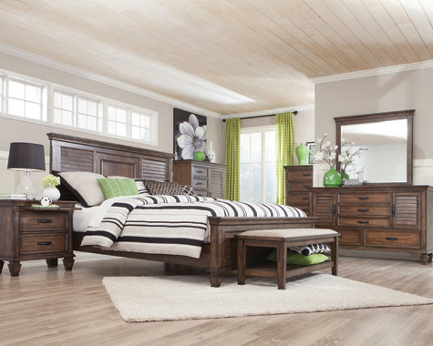Franco Eastern King Panel Bed Burnished Oak - Hover