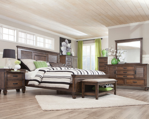 Franco Queen Panel Bed Burnished Oak - Hover