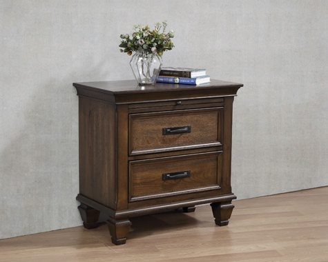 2-drawer Nightstand with Pull Out Tray Burnished Oak - Hover