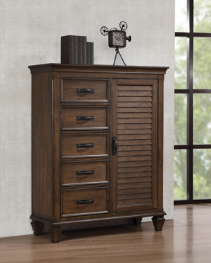 Franco 5-drawer Man's Chest with Louvered Panel Door Burnished Oak - Hover
