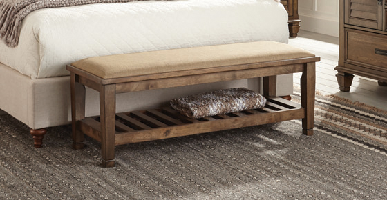 Bench with Lower Shelf Beige and Burnished Oak - Hover