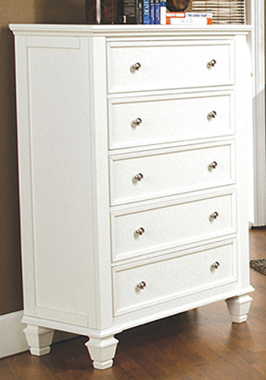Sandy Beach 5-drawer Rectangular Chest White - Hover