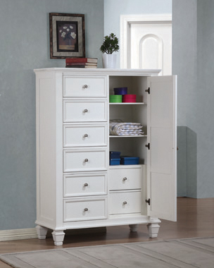 Sandy Beach 8-drawer Man's Chest Storage White - Hover