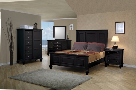 Sandy Beach Eastern King Panel Bed with High Headboard Black - Hover