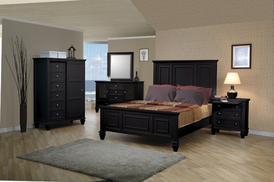 Sandy Beach California King Panel Bed with High Headboard Black - Hover