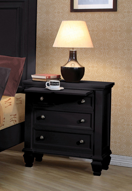 Sandy Beach 3-drawer Nightstand Black - Hover