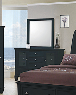 Sandy Beach Vertical Dresser Mirror Black - Hover