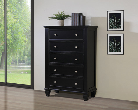 Sandy Beach 5-drawer Chest Black - Hover
