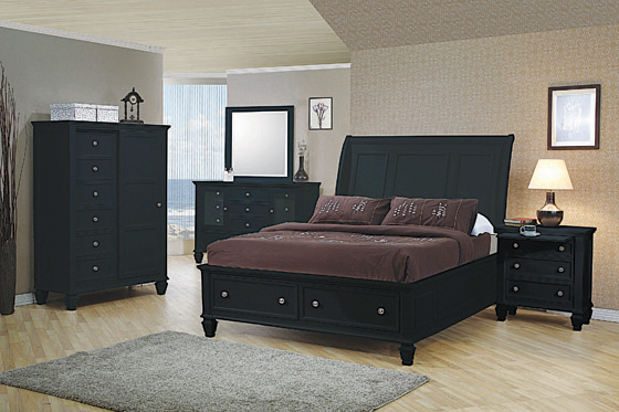 Sandy Beach Eastern King Storage Sleigh Bed Black - Hover