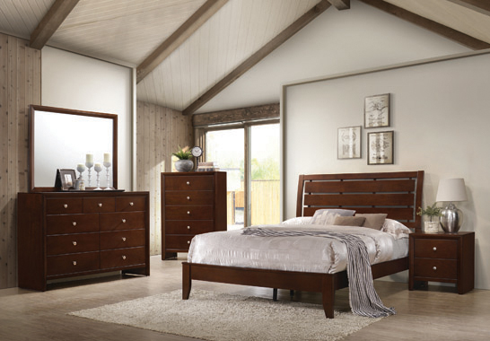 Serenity Eastern King Panel Bed Rich Merlot - Hover