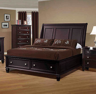 Sandy Beach Queen Storage Sleigh Bed Cappuccino