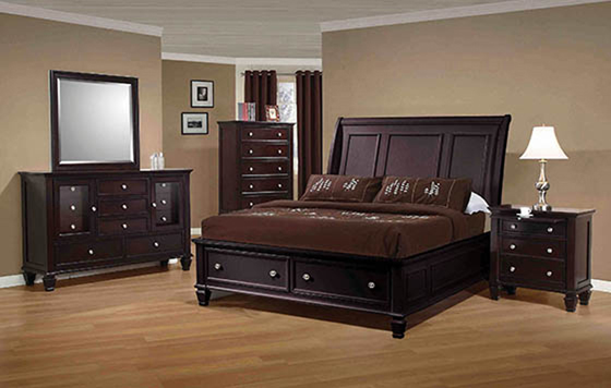 Sandy Beach Queen Storage Sleigh Bed Cappuccino - Hover