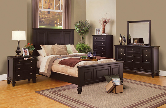 Sandy Beach Eastern King Panel Bed with High Headboard Cappuccino - Hover