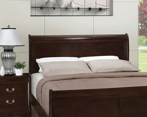 Louis Philippe Full Panel Sleigh Bed Cappuccino - Hover