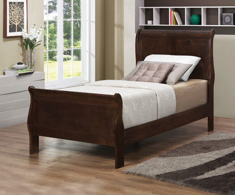 Louis Philippe Twin Panel Sleigh Bed Cappuccino - Hover