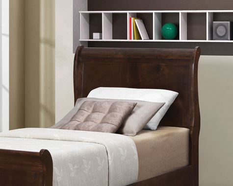Louis Philippe Twin Sleigh Headboard Cappuccino