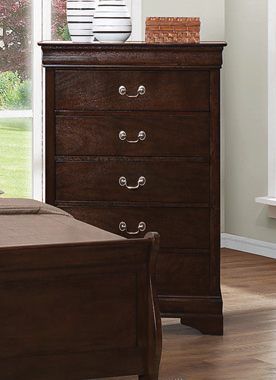 Louis Philippe 5-drawer Chest with Silver Bails Cappuccino - Hover