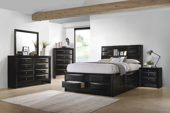 Briana Eastern King Platform Storage Bed Black - Hover