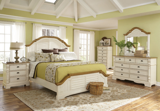 Oleta Queen Panel Bed with Shutter Detail Buttermilk and Brown - Hover