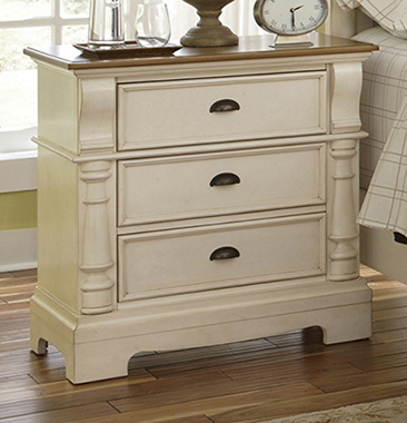 Oleta 3-drawer Nightstand Buttermilk and Brown - Hover