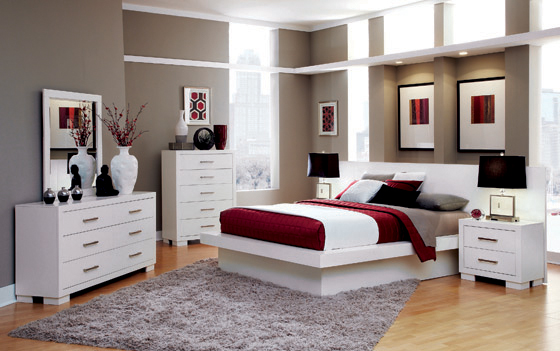 Jessica Queen Platform Bed with Rail Seating White - Hover